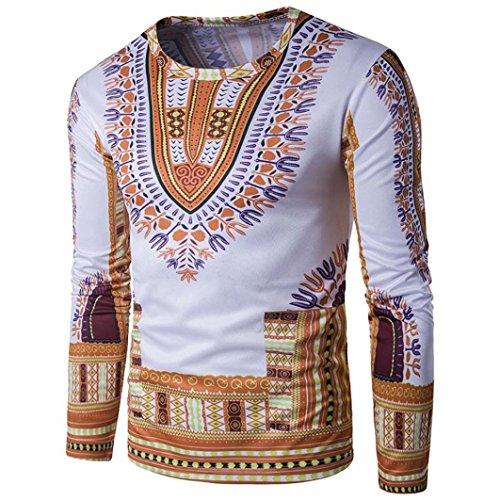 Men's Top,Leedford Traditional African Print Dashiki Shirt,Thailand Style African Print Long Sleeve T-Shirt Blouse Tops (XL, Yellow)