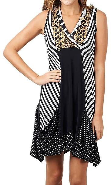 1f5620e83a9b Joseph Ribkoff Black, White & Faux Animal Print Kerchief Dress Style 171736  - Size 8