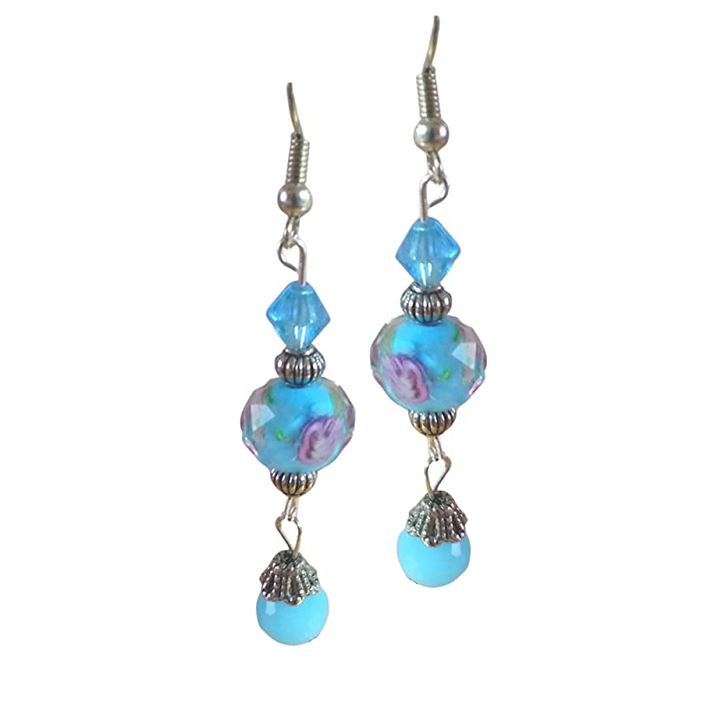 Blue Dangle Earrings Bright blue oval earrings Fabric jewelry Mother Christmas present
