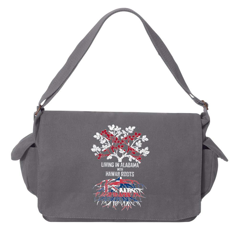 Tenacitee Living In Alabama with Hawaii Roots Grey Brushed Canvas Messenger Bag