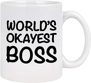 World's Okayest Boss Coffee Mug Best Boss Mug The Office Mug for Boss Day, Best Gifts for Boss Coworkers Male or Female Manager Best Boss Gifts for Women Men 11 oz Boss Coffee Mug