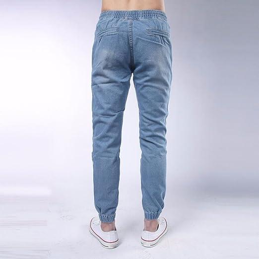 Jeans para hombres Moda Cordón Puños apretados Vendimia Casual Confortable Pantalones de mezclilla LMMVP (M, Azul claro)