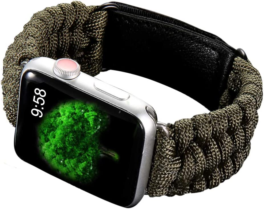 Hero Sport Band Compatible for Apple Watch Band. Durable Woven Nylon Velcro Breathable 550 Paracord Lifesaving Wristband for iWatch Series 5 4 3 2 1 - Olive(42mm/44mm)