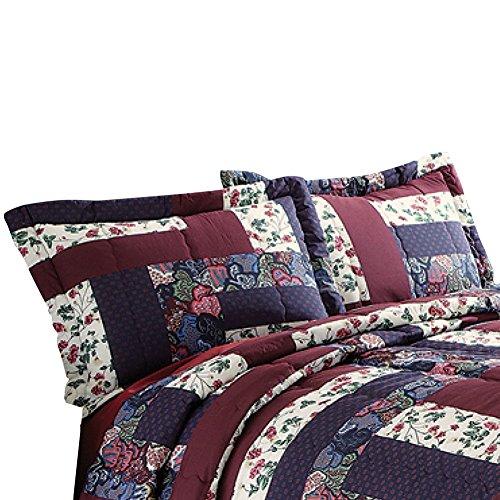 Caledonia Burgundy Floral Patchwork 2 Piece Pillow Sham Set