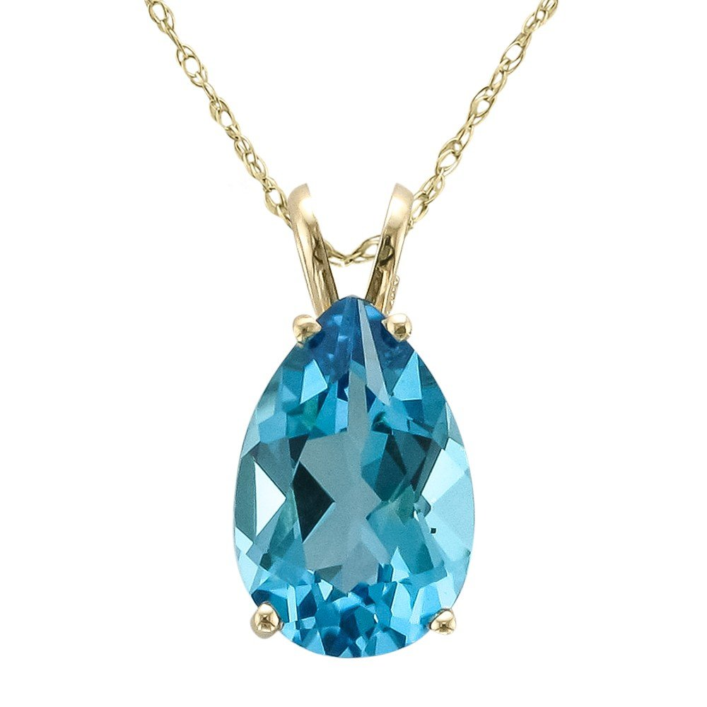 14 Karat Yellow Gold Pear Shape Swiss Blue Topaz Necklace