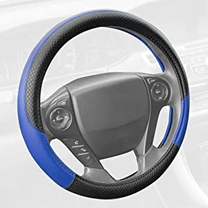 Motor Trend SW-807-BL Blue Synthetic Leather Steering Wheel Cover-Cross Diamond Stitching-Two Tone Sport Grip, Blue Accent/Black