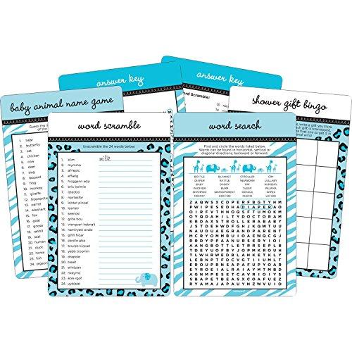Blue Sweet Safari Baby Shower Game Kit ()