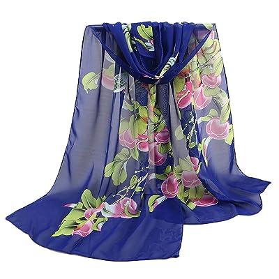 Lenfesh Bufandas seda Mujeres Fular de seda Floral Estampado Elegantes Suave Fulares larga Otoño Invierno: Ropa y accesorios
