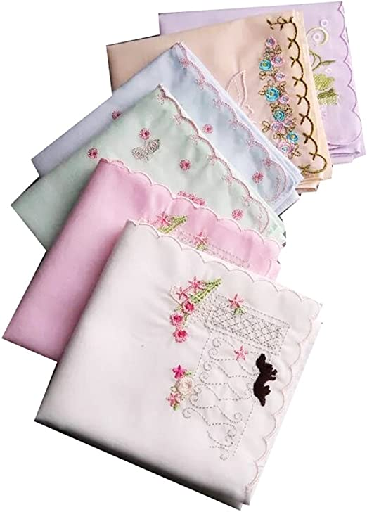 3 Pack Ladies /& Girls Cotton Floral Pink /& White 3 Handkerchief Gift Set with White Embroidery