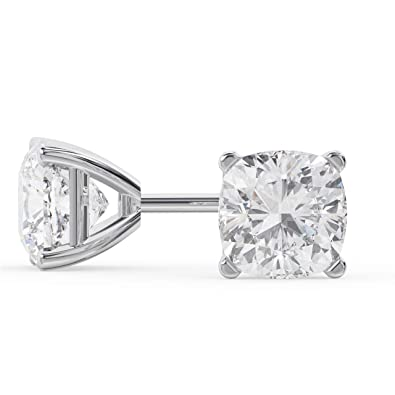 a8eefabdc Image Unavailable. Image not available for. Color: 14k White Gold Cushion  Cut Diamond Stud Earrings ...