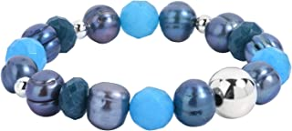 product image for Carolyn Pollack Sterling Silver Beaded Stretch Bracelet Size Small to Medium & Medium to Large