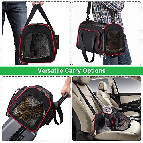 Soft Side Pet Carrier, Pet Carrier for Dogs & Cats, Expandable Soft Pet Carrier with Removable Fleece Mat for Easy Carry on Luggage, Travel Bag for Small Animals, Portable Handbag, Black by wot i (Image #5)