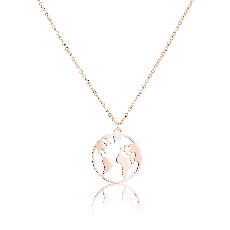 GD GOOD.designs EST. 2015 Collier avec Pendentif Carte du Monde - Longueur 45 cm – Argent, Or Rose ou Or - Femme
