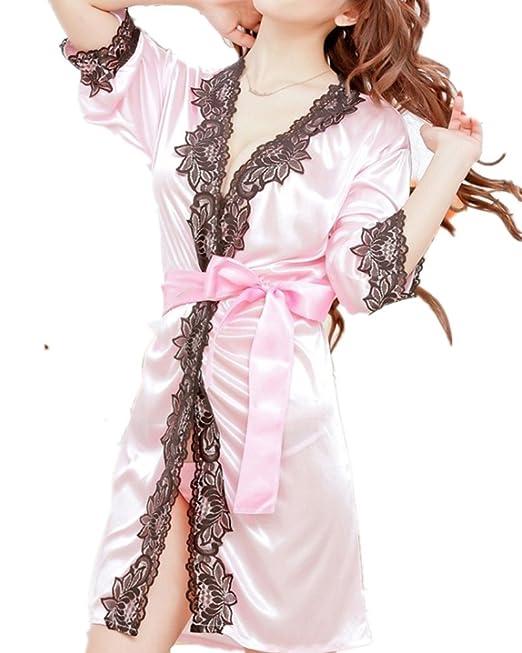 DAYAN Ropa interior pijama corta Kimono Encaje de seda sedoso Lencería seducción para mujer Color rosa