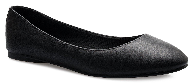 OLIVIA K Women's Comfort Basic Classic Ballet Flat Shoes - Formal, Casual Easy Slip On Work Shoe B074FBC8QG 7.5 B(M) US|Black Pu Memory Foam