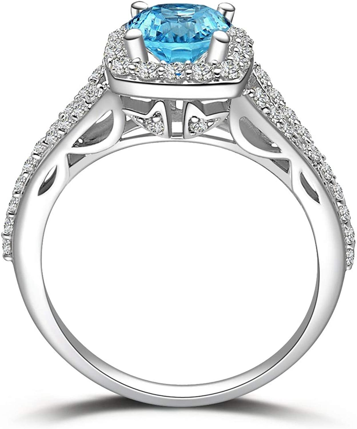 AMDXD Jewellery 925 Sterling Silver Wedding Rings Women Blue Round Cut Topaz Round Ring