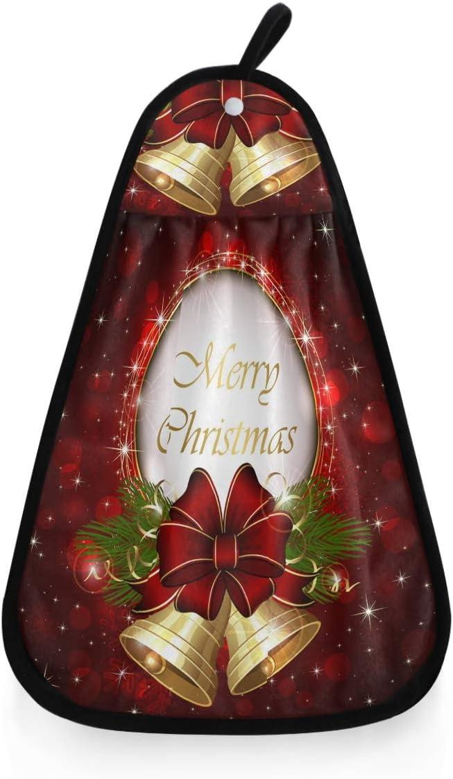 Toalla de Limpieza de Navidad ba/ño Toallas Toalla de Cocina con dise/ño de Campanas Doradas y Lazo Rojo para Colgar en la Cocina decoraci/ón Trapos para Cocina Toallas Kcldeci