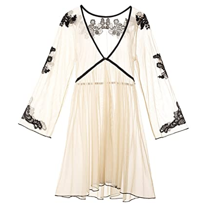 Albornoz GJM Shop algodón con Bolsillos Primavera Y Verano Nylon Color Desnudo Pijama Sexy Camisón Túnica