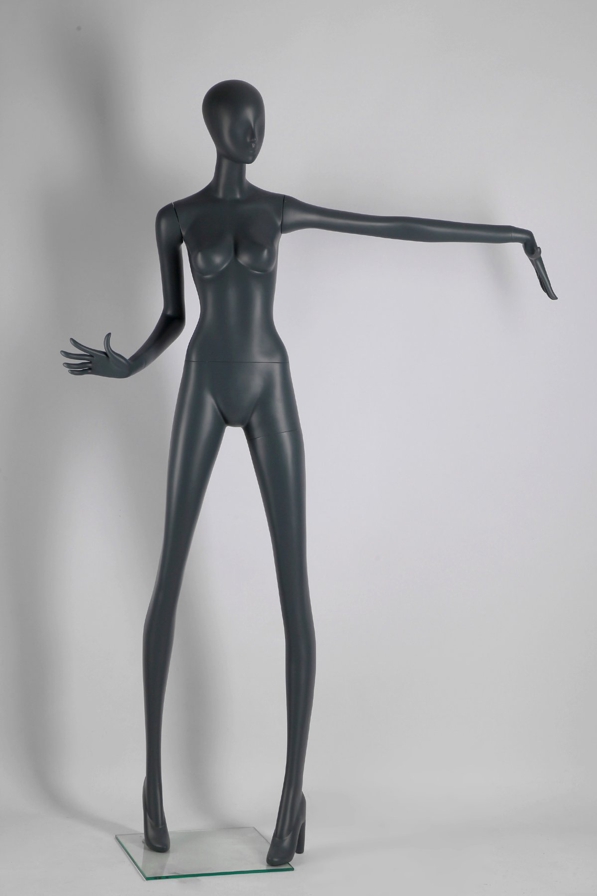 Female Full Body Fiberglass Mannequin Abstract Style, Grey Color (ados1)