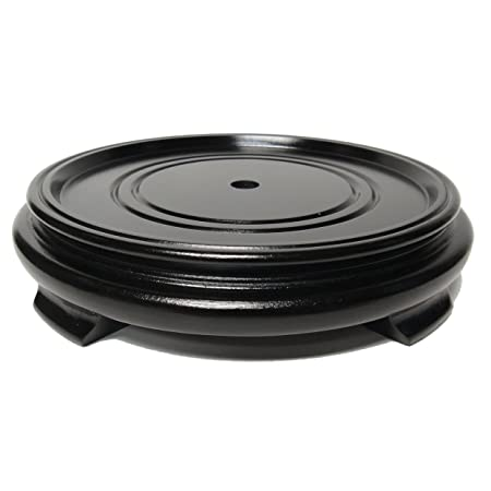 T-Trove Black Simple Round Stand Wood Base 2 -9