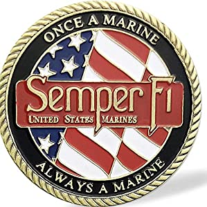 USMC Challenge Coin - Semper Fi - Once a Marine Always a Marine & Corps Values' by TPD Industries - A Veteran Business