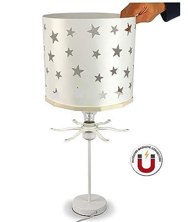 EREKI - Lámpara de mesa de noche con estrellas blancas y ...
