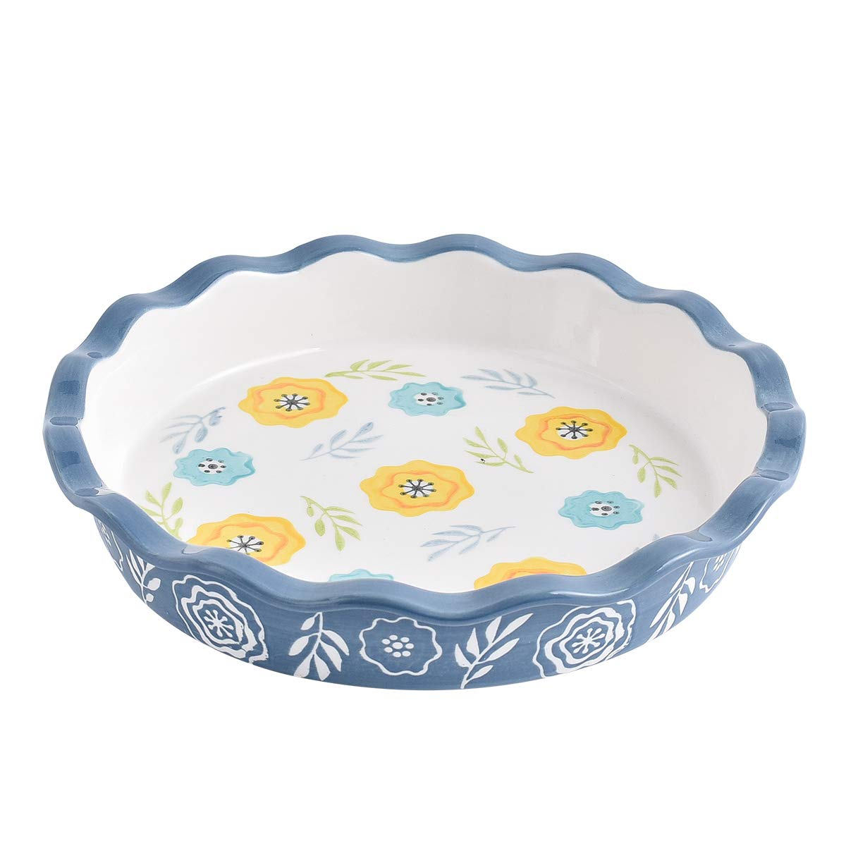 KINGSBULL HOME Pie Pan Porcelain Pie Dish Ceramic Pie Plate 10.5-Inch Teal Non-Stick Safe for Microwaves, Dishwasher, Ovens, Navy blue by KINGSBULL HOME