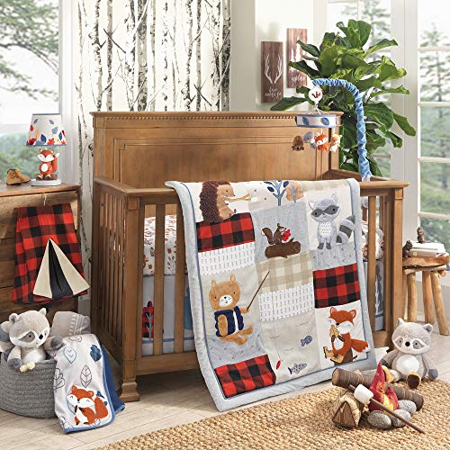 Lambs & Ivy Little Campers 5-Piece Crib Bedding Set - Blue, Red, Gray, Beige