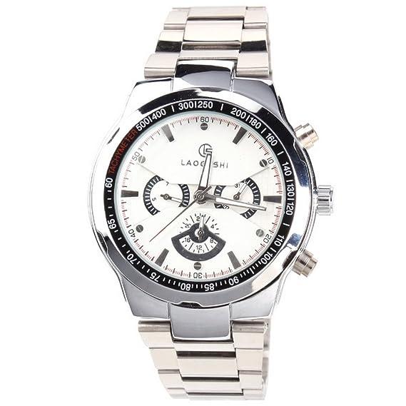 Yesurprise 041031 – Reloj de pulsera de hombre, correa de acero inoxidable color plata