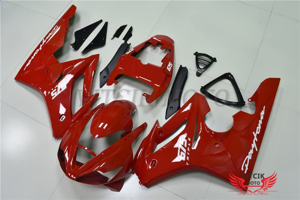 A015 Red VITCIK Fairing Kits Fit for Triumph Daytona 675 2006 2007 2008 675 06 07 08 Plastic ABS Injection Mold Complete Motorcycle Body Aftermarket Bodywork Frame