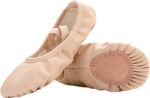 Amazon.com | FEETCITY Girls Leather Ballet Dance Shoes Women ...