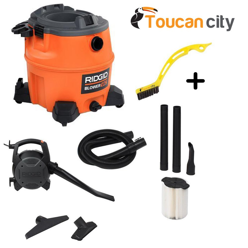 RIDGID 16 Gal. 6.5-Peak HP Wet Dry Vacuum with Detachable Blower WD1680 Vac + Toucan City Tile and Grout Brush by Ridgid + Toucan City