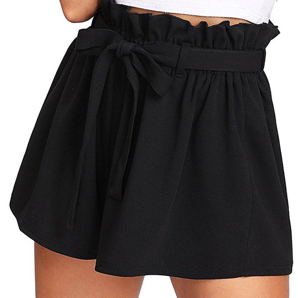 Feitengtd 2019 Women Casual Elastic Waist Hot Pants Summer Shorts Jersey Walking Shorts Black