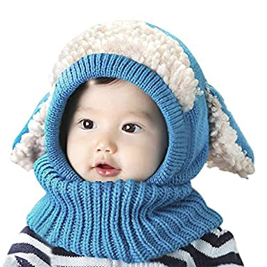 Ensemble Bonnet-Echarpe Bébé Tricoté Crochet Thermique Calotte Hiver  Automne Chaud Earflap Motif Cartoon Chien 2ce350280c1