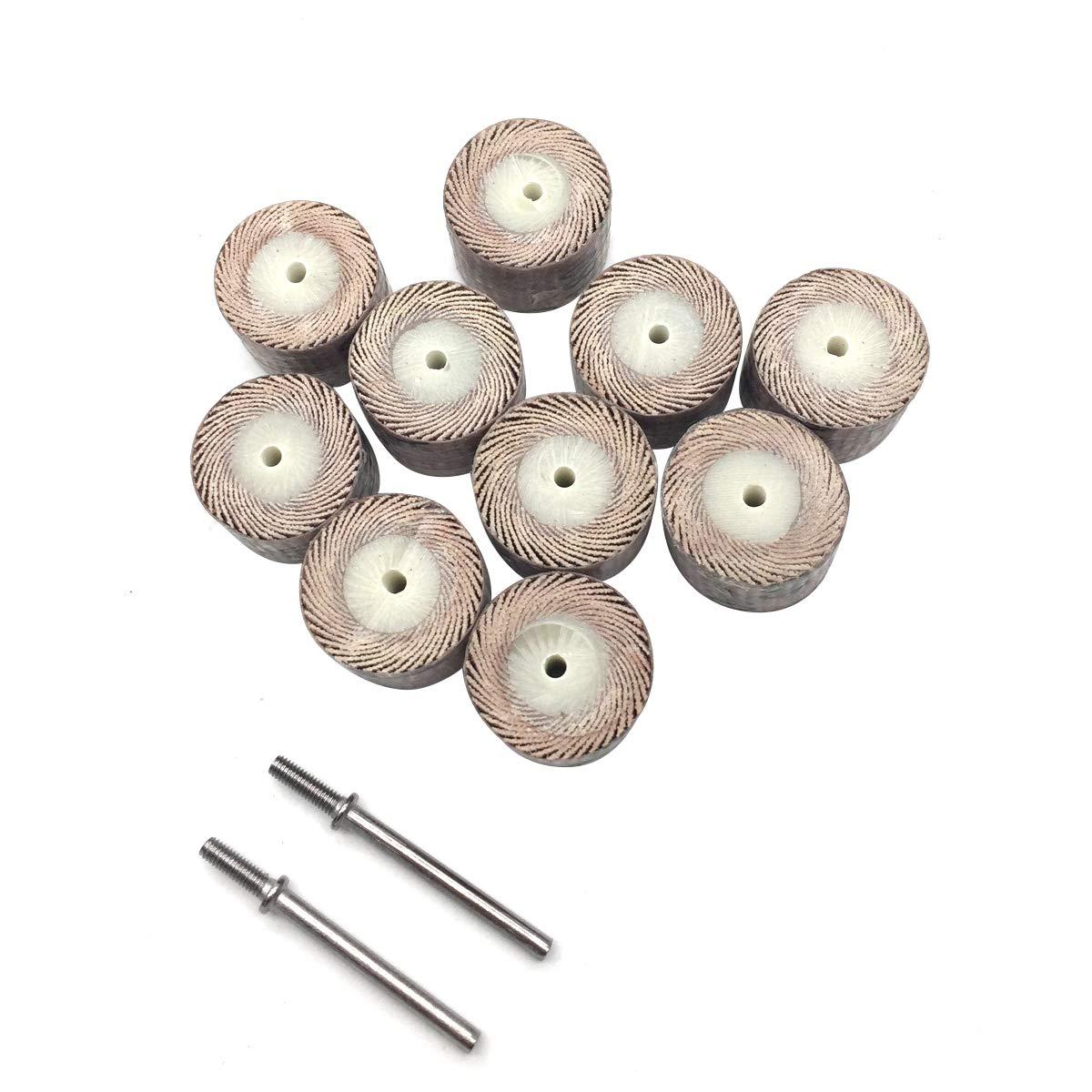 30 x 25mm 1.18 x 1 30mm x 25mm 80 Grit 1//4 inch Shank Cylindrical Abrasive Polishing Grinding Discs Aluminum Oxide Flap Wheels Brown 10PCS
