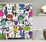 Ambesonne Psychedelic Decor Collection, Tropical Wild Safari Zoo Animals Pattern Tiger Giraffe and Owl Kids Room Fun Decorations, Polyester Fabric Bathroom Shower Curtain Set, 75 Inches Long, Multi