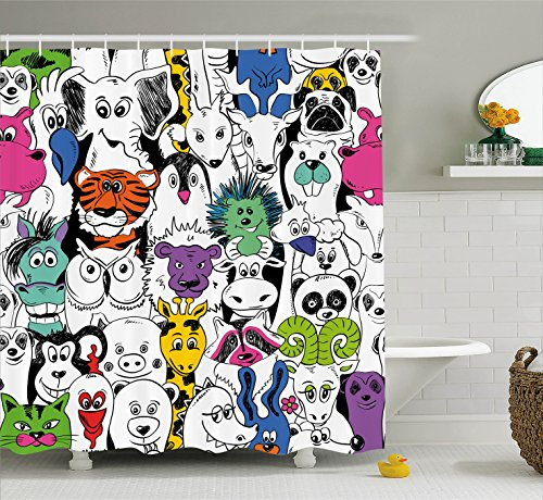 Wild Animals Polyester Shower Curtain - Ambesonne Psychedelic Decor Collection, Tropical Wild Safari Zoo Animals Pattern Tiger Giraffe and Owl Kids Room Fun Decorations, Polyester Fabric Bathroom Shower Curtain Set with Hooks, Multi