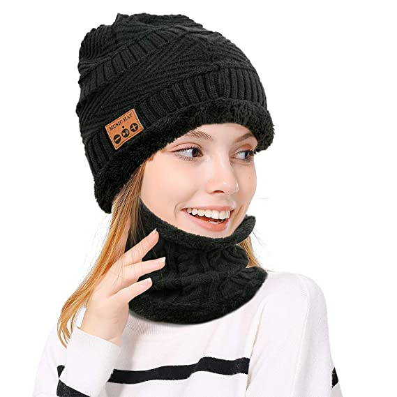 b3e1975cccc9a LingsFire Bluetooth Beanie Bluetooth Hat Knitted Warm Music Hat Wireless  Headphones Hat and Scarf Set Winter