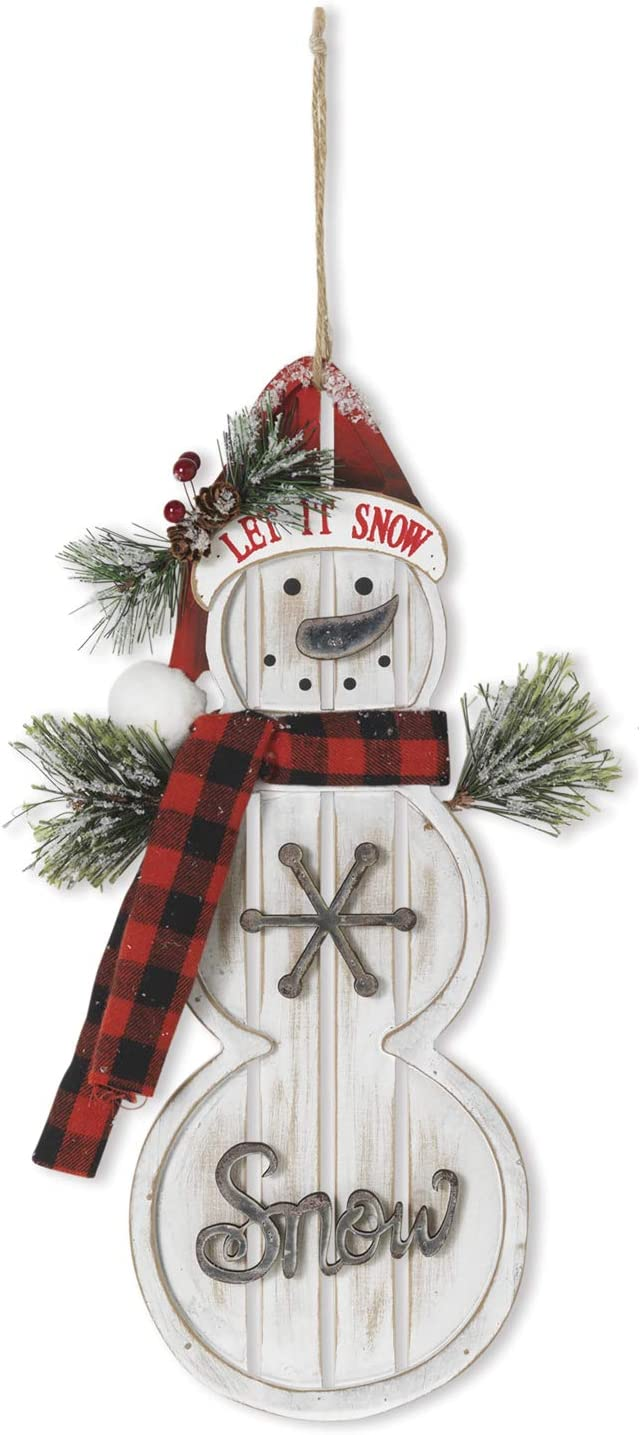 15-Inch Rustic Wood Snowman in Santa Hat and Scarf Wall Art Christmas Sign – Winter Front Door Decor with Pine Accents – Hanging Holiday Decoration