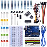 UNIROI UNO Starter Kit for Arduino with Free Tutorials, Arduino UNO R3 Board, Breadboard, Frame Sensor, 1 Digit 7-Segment Display, Resistance Card, Jumper Wire (147 Items) UA002
