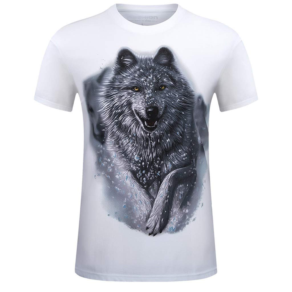 Summer Printed T-Shirt for Mens 3D Funny Printing Casual Crewneck Tops Blouse Large Size (White, XXXXXL)
