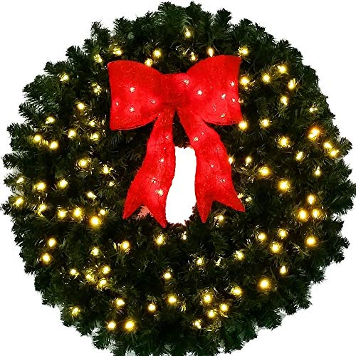 3 Foot L.E.D. Christmas Wreath with Pre-lit Red Bow - 36 inch - 100 LED Lights - Commercial Grade - Indoor - Outdoor (Led Outdoor Wreath)