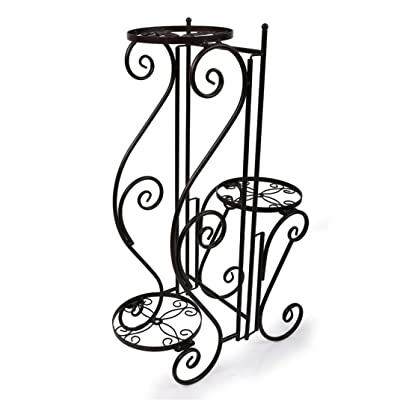 3 Tier Rural Sty Metal Plant Stand Pot Display Shelf Garden Patio Indoor Outdoor : Garden & Outdoor