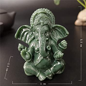 Escultura Estatua Buda Elefante Dios Escultura Ganesh Figuras Personas causadas Piedra de Jade artesanía jardín de su casa Maceta decoración-Verde: Amazon.es: Deportes y aire libre