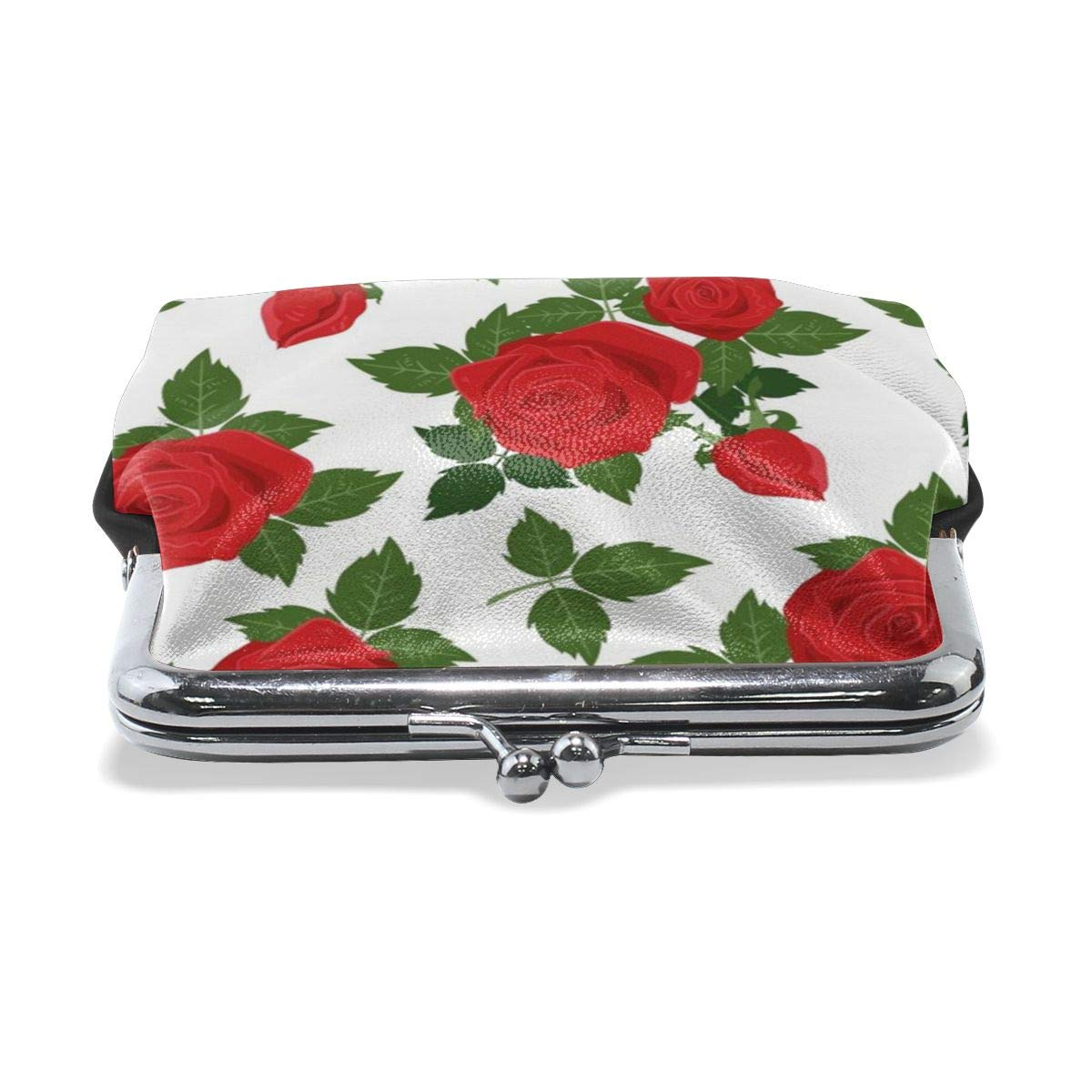 TYDhey Rose Pattern Background Classic Buckle Coin Purses Leather Kiss-Lock Change Wallets