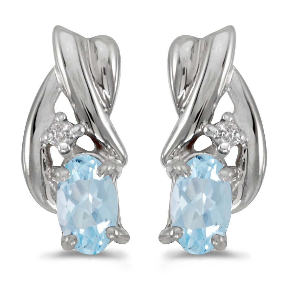 FB Jewels Solid 10k White Gold Studs Oval Gemstone And Diamond Earrings