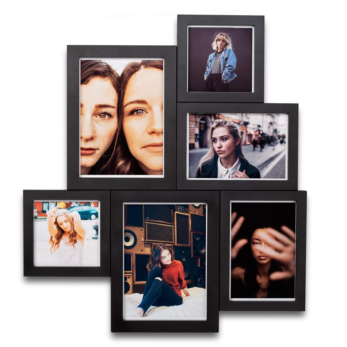 MAGNAFRAME - Multipack Magnetic Picture Frame Gallery (4x4, 4x6 & 5x7) - 6 Pack (Black)