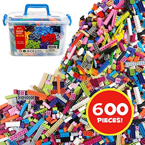 Liberty Imports Bucket of Building Bricks - 600 PC Bulk Blocks with Roof Pieces - Tight Fit and Compatible with All Brands