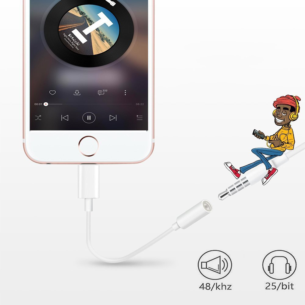 Lightning Jack Adapter,Lightning to 3.5 mm Headphone Jack Adapter Lightning Connector to 3.5mm AUX Audio Jack Earphone Extender Jack Stereo for iPhone X iPhone 8/8Plus iPhone 7/7Plus Support IOS 11 by iNassen (Image #4)