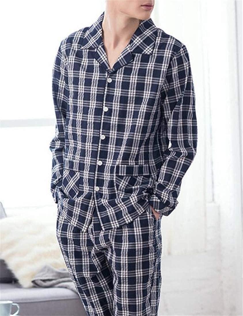 MU2M Men Lounge Wear Cotton 2 Pcs Outfits Long Sleeve Shirts Plaid Print Pajamas Set